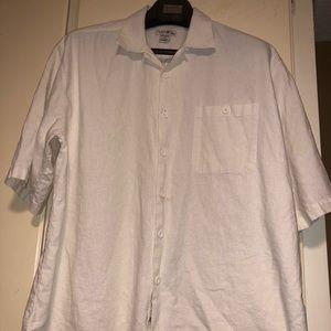 Light Colored Short Sleeve Button Linen Shirt